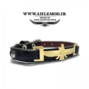 دستبند چرم با پلاک استیل رنگ ثابت فروهر