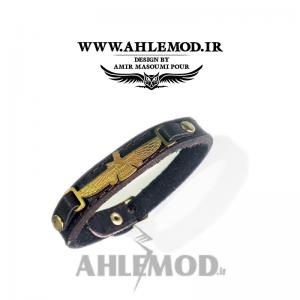 دستبند چرم طبیعی با پلاک فروهر2
