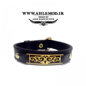 دستبند چرم طبیعی پلاک طرح پاشا